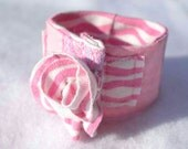 SALE Striped zebra knit pink upcycled cuff bracelet ruffle rose tshirt fabric lavender lace girls teens shabby chic Spring Valentine's day