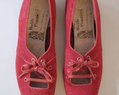 Vintage Hush Puppies red ghillie flats, size 6 1/2