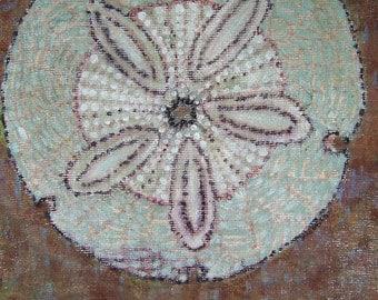 "Original Painting ""Sand Dollar"", beach, ocean, shells, sand, sea shore"