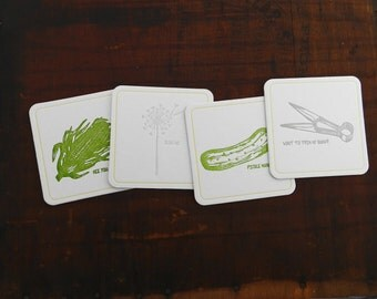 Set of 4 Letterpress Funny Coasters - great groomsmen gift