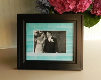 Customizable Picture Frame Mat with Hand-rolled Turquoise Letterpress Ink