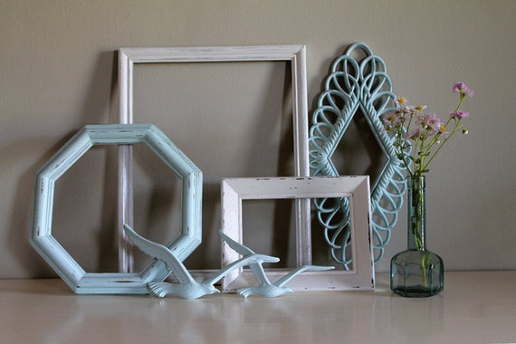 Shabby Chic Antique-White And Light-Blue Painted Frames And