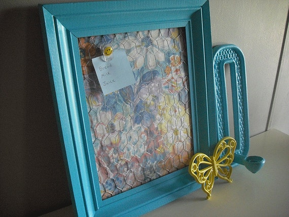 Items similar to repurposed blue painted frame jewelry for Repurposed jewelry holder