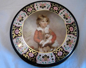 Vintage Biscuit candy Tin Sewing Box Regency Boy Portrait Terrior English Country Cottage Shabby Farmhouse Chic