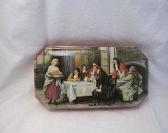 1950s Georgian painting picture cookie candy Tea Tin Sewing button Box Rustic Primitive Country Cottage Shabby French Farmhouse Chic