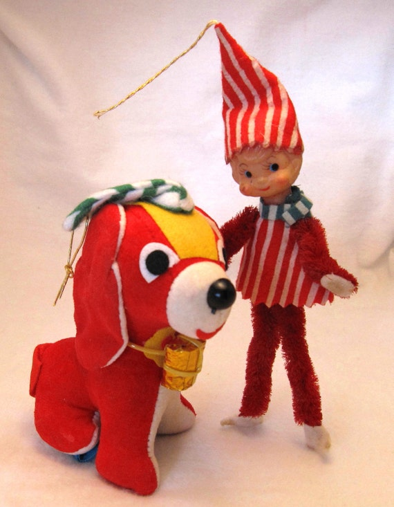 Vintage Pixie Santa Claus Elf Ornament Stuffed Dog JAPAN 1960's Christmas Tree Decor,  Holiday Decor, Retro  collectible