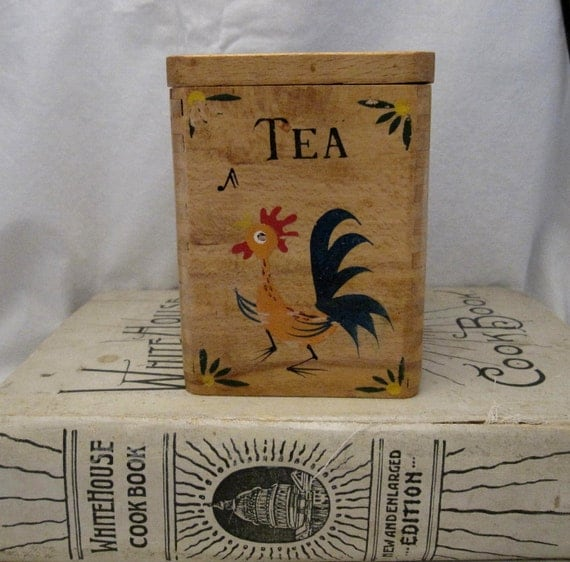 Vintage wood Tea box caddy canister rooster Country Shabby French Farmhouse Cottage Chic