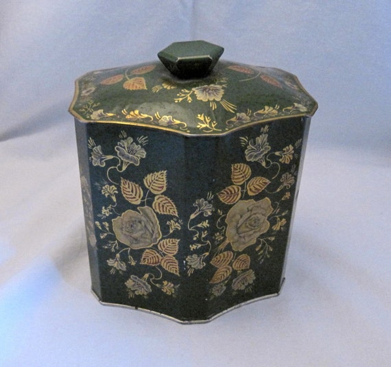 Vintage Biscuit candy Tea Tin Sewing Box Romantic yellow roses picture English Country Cottage Shabby Farmhouse Chic