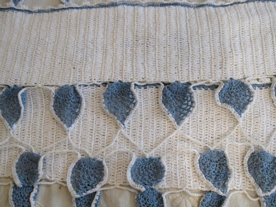 3 Vintage crocheted Window valance Curtains doily blue white Shabby Cottage Country French Farmhouse Prairie chic