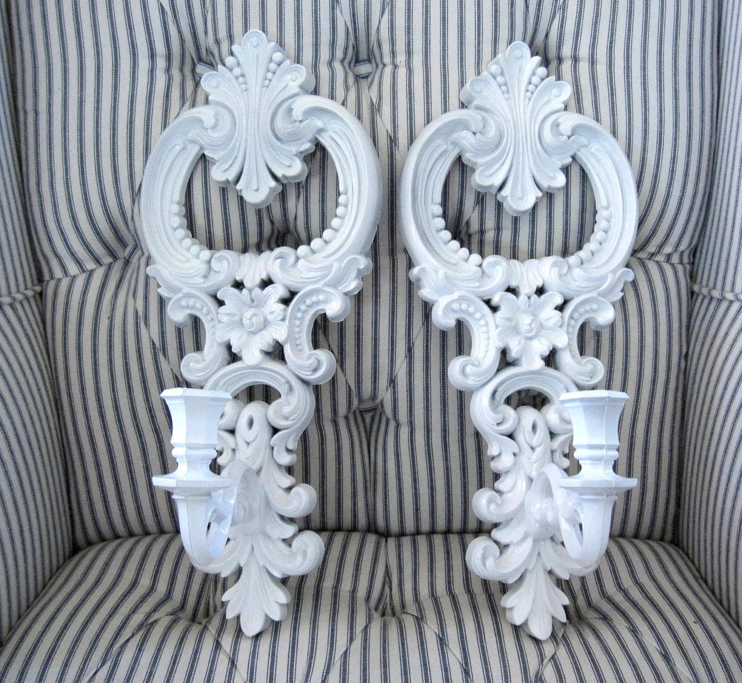 Pr Vintage Ornate White Wall Sconces Candle Holders Shabby