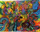 Psychedelic Frenzy - Prismamarkers/India ink brush LARGE print