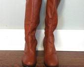 Golden Brown Tall Leather Boots Size 8.5