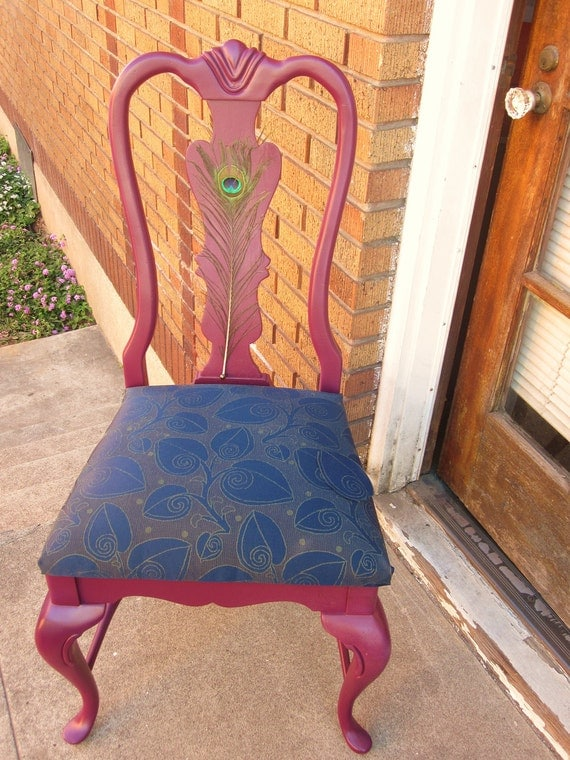Peacock Feather Purple Accent Chair