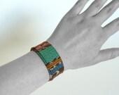 MARLEIGH - cuff bracelet slap bracelet handmade with vintage fabric - FREE SHIPPING