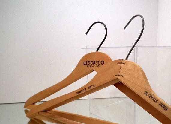 Vintage Wood Coat Hangers Hotel Advertising