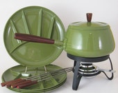Retro Fondue Set Unused, Fondue Pot, Burner, Plates and Forks, Vintage 1960s 1970s