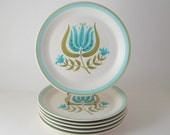 Vintage Franciscan Dinner Plates, Set of 6, Tulip Time Earthenware, Dinnerware Dishes, 1960's 1970's