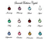 One Round Bezel Swarovski Birthstone Color Crystal Pendant Charm Add On Gold or Silver - 1 Crystal with Jump Ring