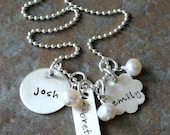 Custom Personalized Hand Stamped Sterling Silver My Family Three Charm Disc Mommy Name Birthstone Necklace