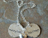 Custom Personalized Hammered Sterling Silver Rustic Petite Names Duo Hand Stamped Two Disc Mommy Charm Brag Necklace