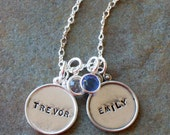 Custom Personalized Framed Names Duo Hand Stamped Two Name Birthstone Necklace