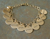 Custom Personalized Gold Filled Classic Charm Hand Stamped Mother's Brag Family Bracelet