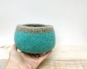Turquoise Wool Bowl - Felt bowl, Turquoise blue, Home Decor, Storage, Aqua, Organization