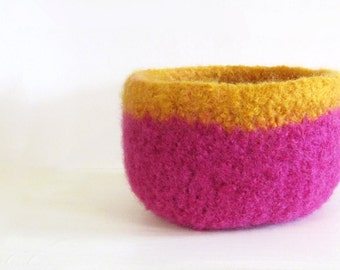 Felted Bowl - Wool Bowl, Bright Pink, Orange Trim, Home Decor, Storage, Organize, Desk accessory