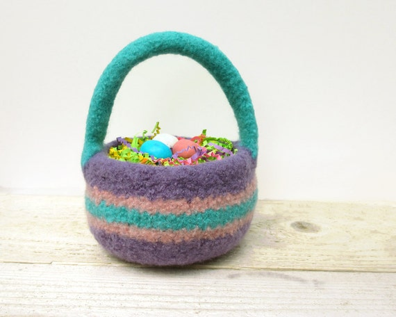 Easter Basket - Felted Wool, Purple, Turquoise/Pink Trim, Felted bowl, Easter Decor, Spring Basket