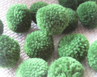 100- olive green-Yarn Pom Poms - pom pom, beads, balls,flower, cotton, handmade, mobile, knit, kid, eco, button, sew, home decor, felt