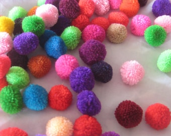 "100 pom pom , 1"" inch, or 20mm, mixed your colors, handmade cotton  pompom, Beautiful  Colours"