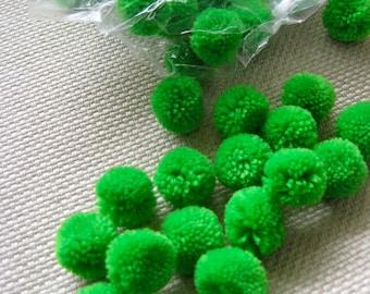 100 bright green pom pom Yarn Pom Poms - pom poms, Cotton pom pom Handmade.