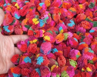 100 Yarn Pom Poms  - beads, balls,flower, cotton, handmade, mobile, knit, kid, eco, button, sew, home decor, felt