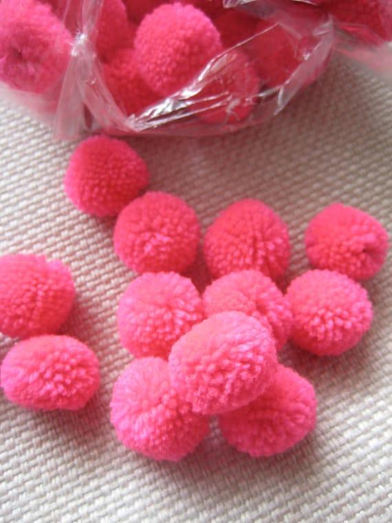 100-Bright Pink-Yarn Pom Poms -, beads, balls,flower, cotton, handmade, mobile, button, home decor, felt