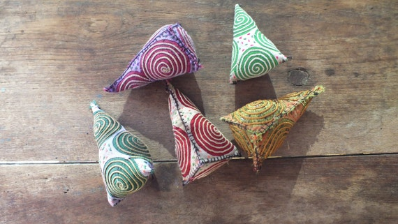 5 Thai Hill Tribe Pompoms-charms-handmade,pompoms and tags from Thailand