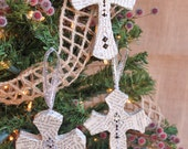 Decoupage Christmas Ornaments, Set of 3 Crosses w/Book Pages, READY TO SHIP