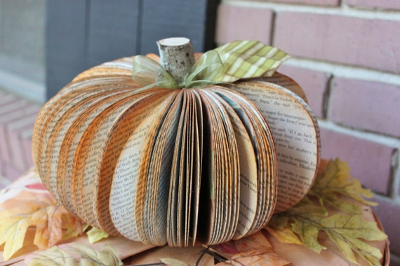 Upcycled Book Pumpkin MADE TO ORDER (as featured on Etsy's Fresh Shop e-mail)