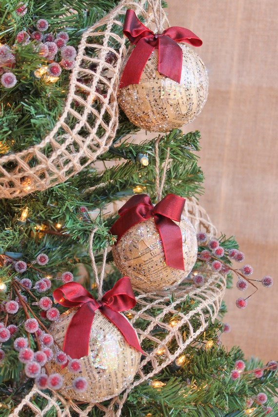 Decoupage Christmas Ornaments Set of 3 w/Vintage Sheet Music