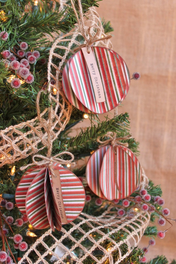"Paper Ornaments, Set of 3 ""Merry Christmas"" Striped"