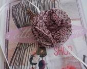 Pink Fabric Flower Headband with pink bead embellishment