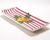 English cake plate burgundy stripes and flowers upcycled reuse tableware