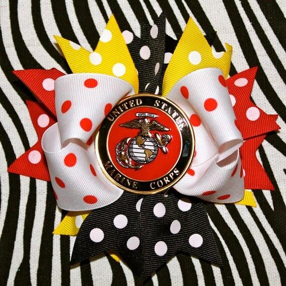 USMC polka dot hair bow