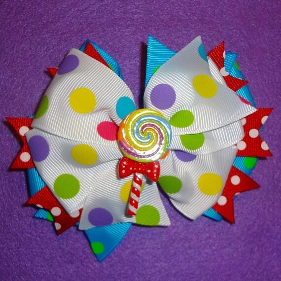 Candy Land Lollipop Hair Bow