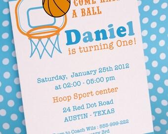 DIY PRINTABLE Invitation Card - Basketball Birthday Party Invitation - PS833CA1a1