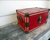 Vintage Industrial Red Metal Doll Steamer Style Trunk Box