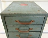 Vintage Industrial Green Metal Cabinet Storage File Box Four Drawers USA - Jewelry Desk Organiser