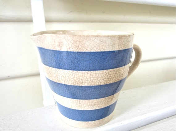 Items Similar To Vintage Blue And White Striped Ceramic