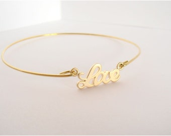 Gold LOVE bangle - Love bracelet - Bridesmaid gift - Bridal bracelet - Friendship bracelet - Minimalist jewelry