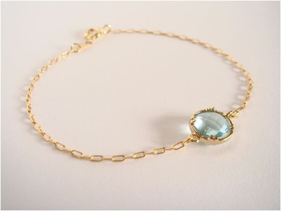 Gold and light blue glass bracelet - Everyday jewelry