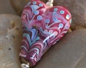 Handmade Lampwork Heart Pendant on a hand-dyed silk ribbon- Spots and Stripes